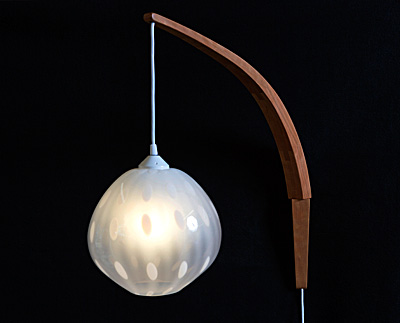 Cherry Curved Arm Wall Lamp