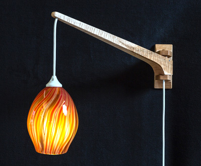 Tiger Maple Swinging Wall Lamp